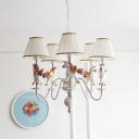 Gathered Fabric Shade Hanging Light with Unicorn White 5 Lights Chandelier Lamp for Kindergarten