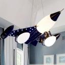 Navy Blue Airplane Hanging Lamp Opal Glass Shade Triple Heads Indoor Lighting Fixture