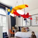 Aircraft Hanging Light Fixture Kindergarten Metal 3 Lights Suspension Light in Chrome Finish