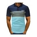 Summer Fashion Colorblock Striped Printed Classic Fit Logo Polo for Men