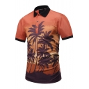 Summer Chic 3D Tropical Coconut Palm Printed Short Sleeve Orange Polo Shirt for Men