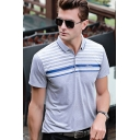 Men's Fashion Striped Short Sleeve Casual Classic-Fit Polo Shirt