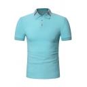 Classic Striped Collar Short Sleeve Three-Button Cotton Polo Shirt for Men