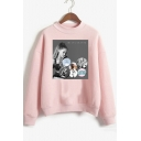 Mock Neck Long Sleeve Popular Singer Print Loose Fit Sweatshirt