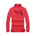 Men's Basic Turn-Down Collar Long Sleeve Loose-Fit Logo Polo Shirt