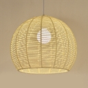 Knit Dome Shade Suspension Light Nordic Style 1 Head Pendant Hanging Lamp in Beige/Flaxen