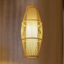 Bamboo Oval Shade Pendant Light Contemporary 1 Bulb Hanging Ceiling Lamp in Wood for Corridor