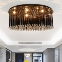 Modernism Round Flush Light Fixture with Crystal Art Deco LED Indoor Lighting Fixture in Black