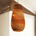 Asian Style Vase Shade Hanging Light Paper 1 Light Pendant Light in Brown for Dining Room Hallway