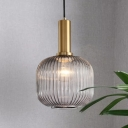 Nordic Style Cylinder/Oval Hanging Pendant Light with Smoke Ribbed Glass 1 Bulb Drop Light in Brass