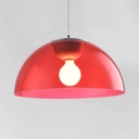 Dome Indoor Lighting Fixture Modernism Height Adjustable Red Acrylic Shade 1 Head Pendant Lamp for Corridor