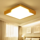 Nordic Style Squared LED Lighting Fixture Wood Surface Mount Ceiling Light in Neutral for Bedroom
