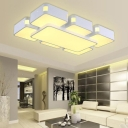 Modern Design Geometric Flush Mount Acrylic LED Flush Ceiling Light in White for Study Room