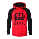 New Trendy Crown King Queen Colorblocked Long Sleeve Drawstring Hoodie for Couple