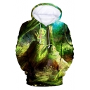 Pokemon Fashion 3D Cartoon Printed Long Sleeve Casual Relaxed Green Hoodie
