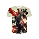 Assassin's Creed 3D Figure Printed Round Neck Basic Fitted Beige T-Shirt