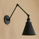 Black Finish Adjustable Arm Wall Light Simple Industrial Metal 1 Light Wall Sconce for Bedroom