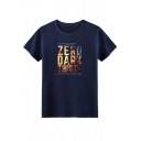 Fashion Letter ZERO DARK THIRTY Printed Round Neck Casual Relaxed Cotton Tee