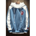 Simple Letter Embroidered Colorblocked Long Sleeve Loose Fleece Drawstring Hoodie