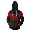 Cosplay Costume Comic Long Sleeve Zip Up Sport Black Drawstring Hoodie
