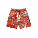 Men's Summer Stylish Coconut Palm Print Drawstring Waist Beach Surfing Orange Swim Shorts