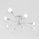 Satin White Bare Bulb Semi Flush Mount with Sputnik Shape Modernism Metal Multi Light Semi Flush Light Fixture