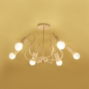 Curved Armed Semi Flush Ceiling Light Modern Fashion Metallic 3/5/6 Lights Indoor Lighting in White