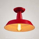 Scarlet Red Barn Ceiling Light Industrial Metal Art Deco 1 Light Semi Flush Mount Light for Coffee Shop