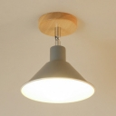 Modern Colorful Funnel Ceiling Light Single Light Surface Mount Ceiling Light with Wooden Canopy