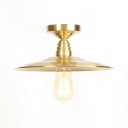 Brass Finish Flared Semi Flush Mount Industrial Vintage Iron 1 Bulb Ceiling Fixture for Restaurant