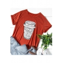 Unique Cup Printed Summer Comfort Cotton Short Sleeve Loose Orange T-Shirt