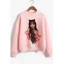 Girls Mock Neck Long Sleeve Fashion Cartoon Girl Print Pink Pullover Sweatshirt