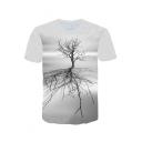 New Stylish 3D Big Tree Shadow Print Short Sleeve Grey T-Shirt