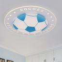Football LED Flush Light Fixture Blue/Red Acrylic Flushmount for Nursing Room