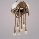 White Tyre Chandelier Lamp with Natural Rope Retro Style 6 Bulbs Hanging Light for Corridor