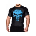 3D Punisher Skull Print Men's Compression Quick Dry Bodybuilding Fitness Gym T-Shirt