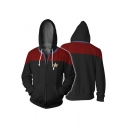 Star Trek Logo Print 3D Colorblocked Cosplay Costume Zip Up Drawstring Hoodie