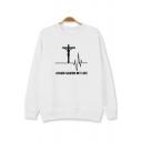 Trendy Electrocardiogram Cross Letter JESUS SAVED MY LIFE Print Cotton Long Sleeve Sweatshirt