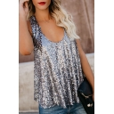 Women's Sexy Shining Sequined Scoop Neck Sleeveless Loose Fit Tank Top for Party