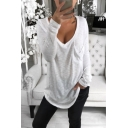 Sexy V-Neck Long Sleeve One Pocket Chest Plain Loose Hipster Casual T-Shirt
