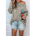 Street Style Fashion Star Printed One Shoulder Long Sleeve T-Shirt