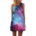 Fashion 3D Purple Galaxy Printed Sleeveless Mini Swing Tank Dress