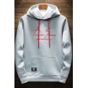 New Fashion Cool Letter Printed Long Sleeve Regular Fitted Drawstring Hoodie