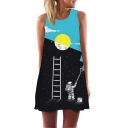 3D Moon Astronaut Pattern Round Neck Sleeveless Loose Casual Black Swing Tank Dress