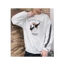 Funny Panda Letter HONEST YOU Printed Crewneck Long Sleeve Loose Casual Sweatshirt