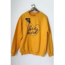 Funny Letter BEE KIND Printed Crewneck Long Sleeve Yellow Pullover Sweatshirt