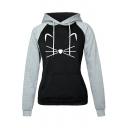 New Stylish Cartoon Cat Print Colorblock Raglan Sleeve Warm Thick Hoodie