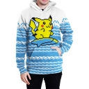 Lovely Cartoon Pikachu Printed Long Sleeve Blue Pullover Hoodie
