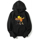 Cartoon Letter BROTHER Printed Long Sleeve Unisex Pullover Sport Hoodie