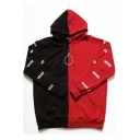 Wanna One Kpop Fire Letter NEVER Print Colorblocked Black and Red Hoodie
